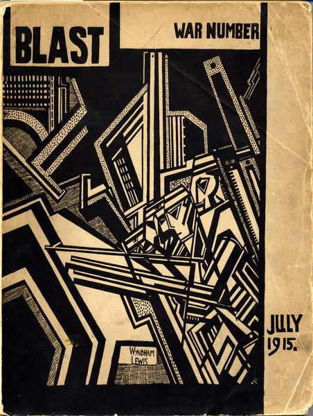 "Black and tan geometric design, depicting a man surrounded by hard angles, with ""BLAST"" written in the top left corner"