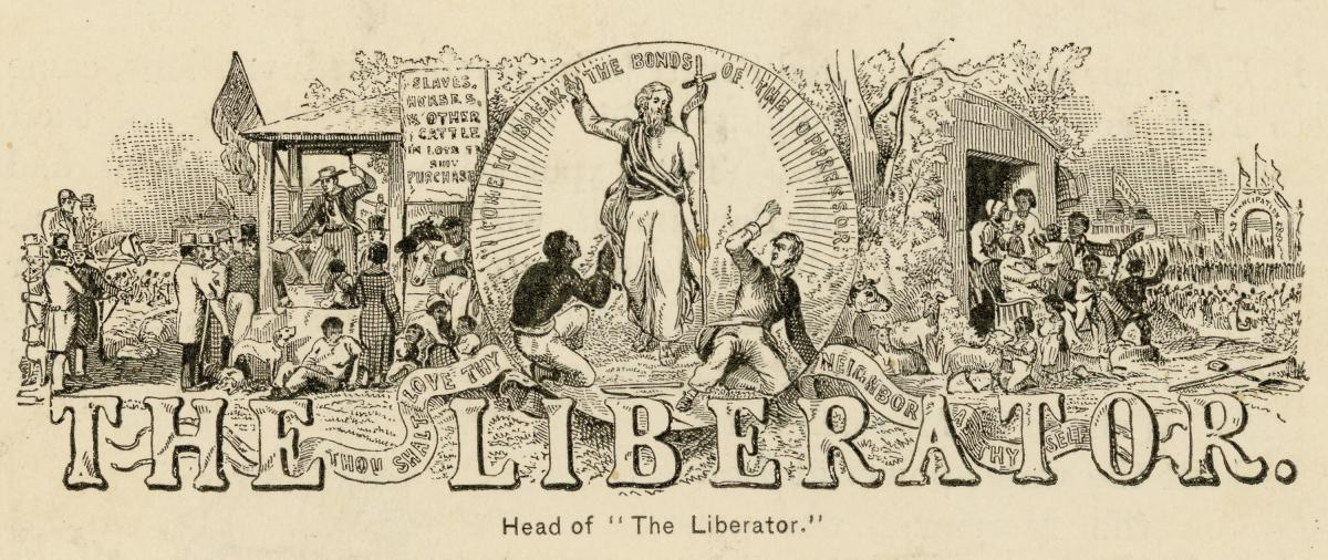 Poster for The Liberator, with illustrations of freed slaves and a liberating Jesus