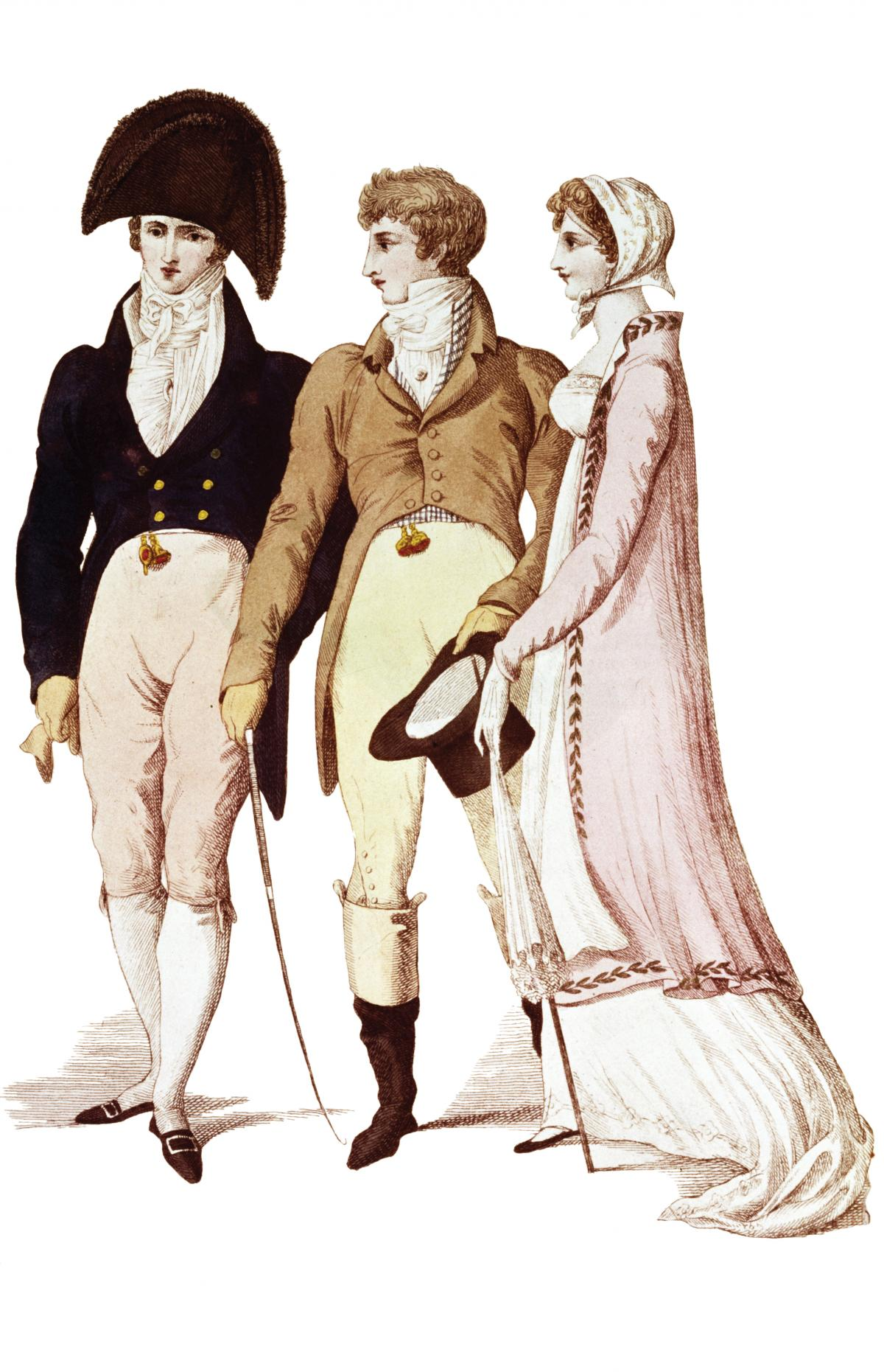 a naval officer in a cornered hat and dark coat, a wealthy man in a tan coat and white trousers, and a woman in a pink shawl, white dress, and matching bonnet