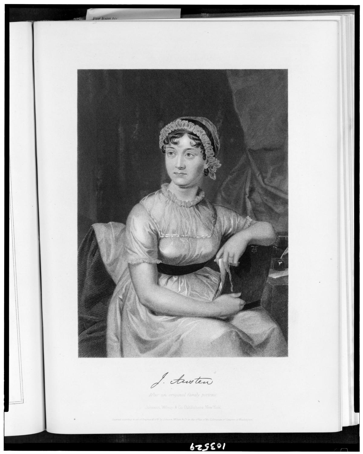 Austen in a white dress and bonnet, seated, with her elbow resting on a table