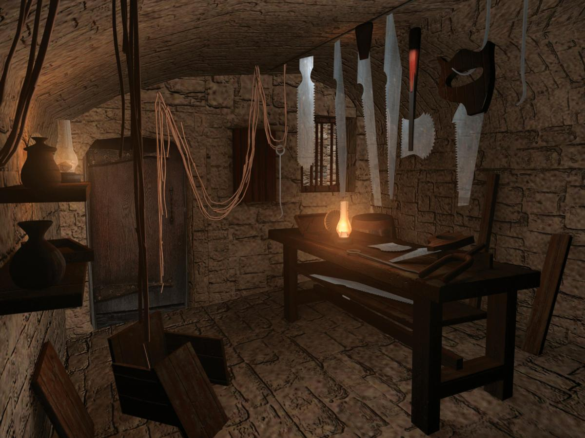 Digital rendering of a room from the age of smallpox--lit only by a small lantern, hung with various ropes and tools