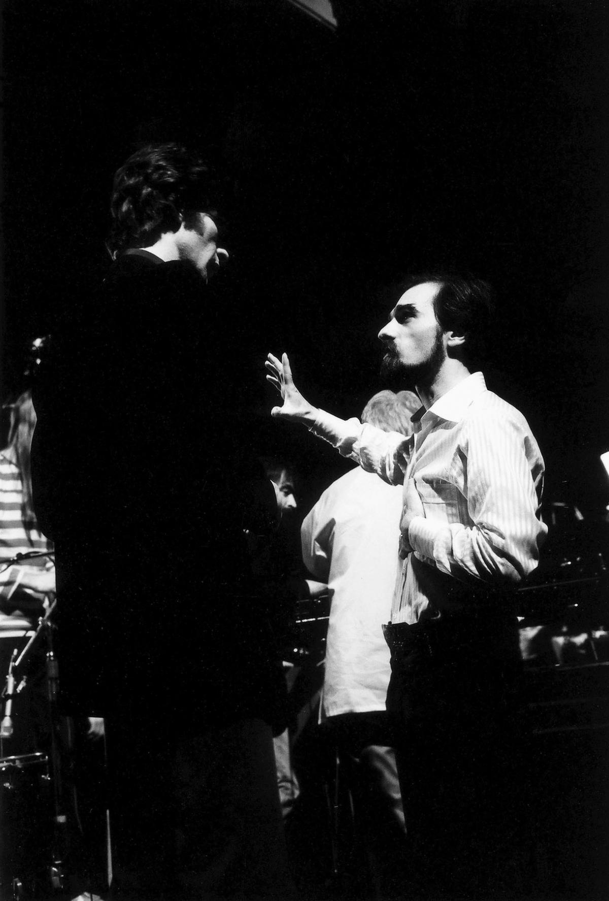 Scorsese and Robertson talk onstage during filming