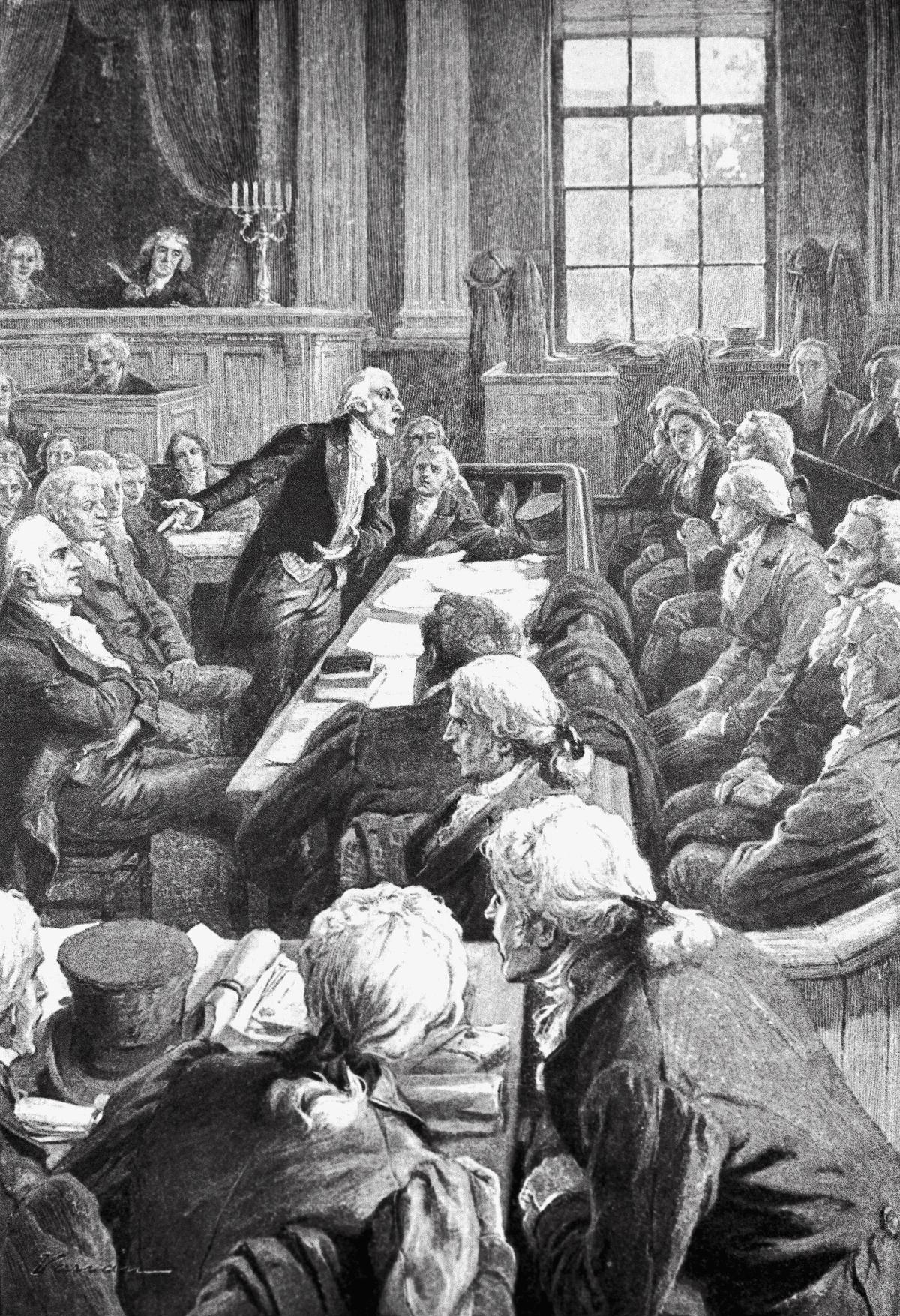 illustration of men arguing in a courtroom