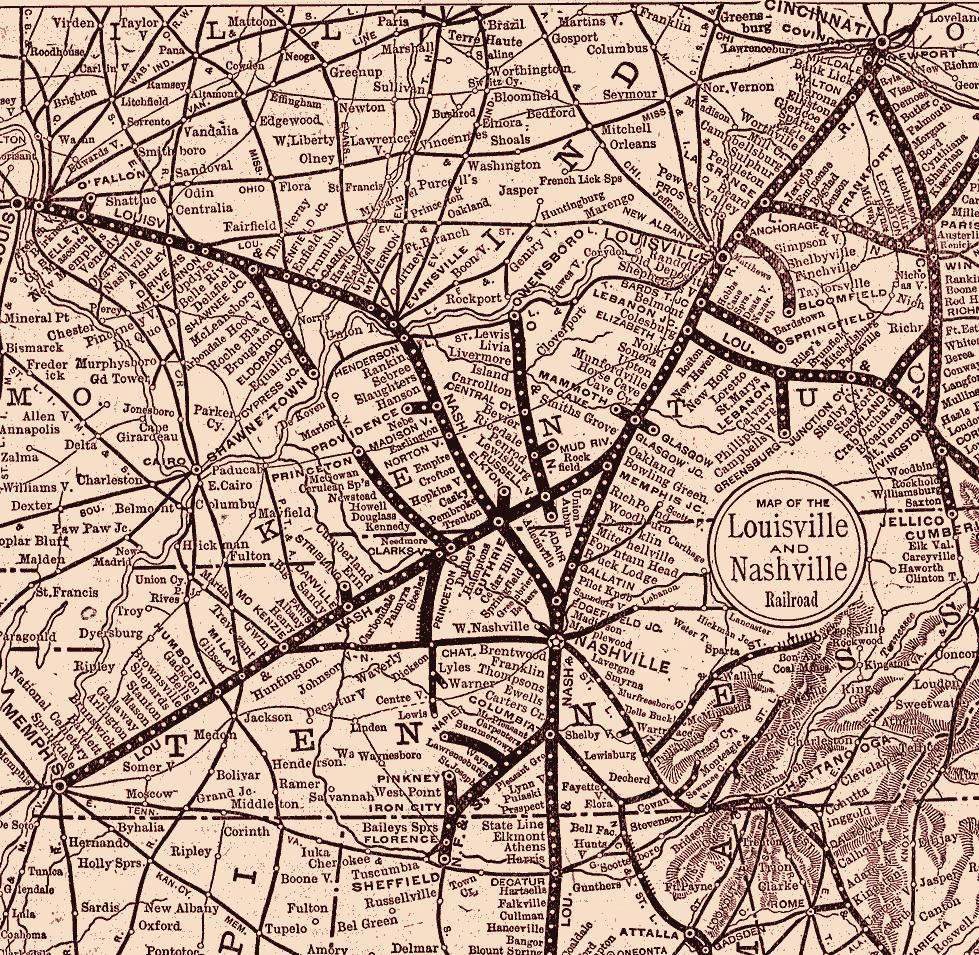 sepia map of louisville and nashville railroad lines
