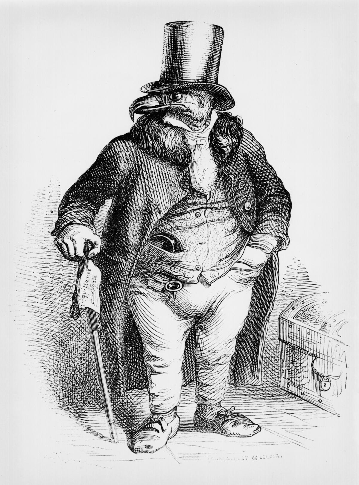 A vulture dressed as a portly gentleman, wearing a top hat, coat and tails