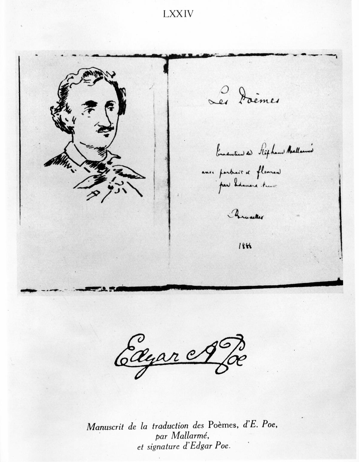 Sketch of Edgar Allen Poe, next to the title of the work, in black script handwriting