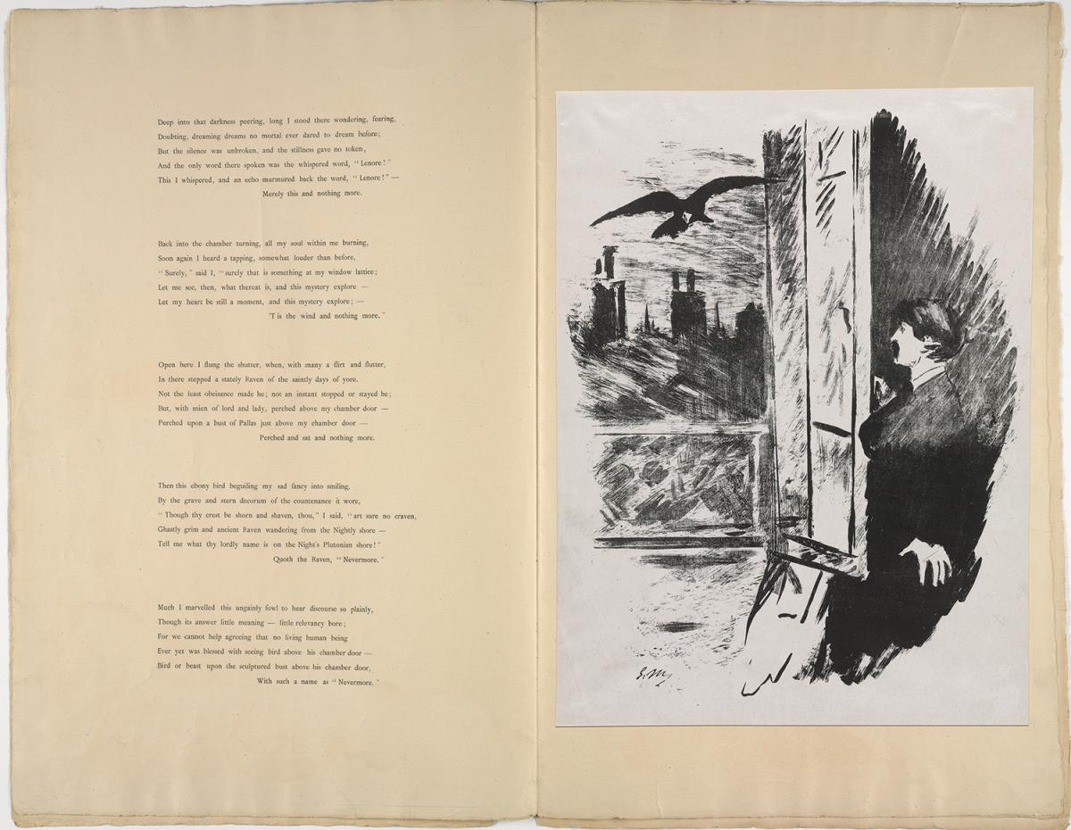 Yellowing paper, printed with text on the left and an ink illustration of a man at a window, watching a raven, on the right