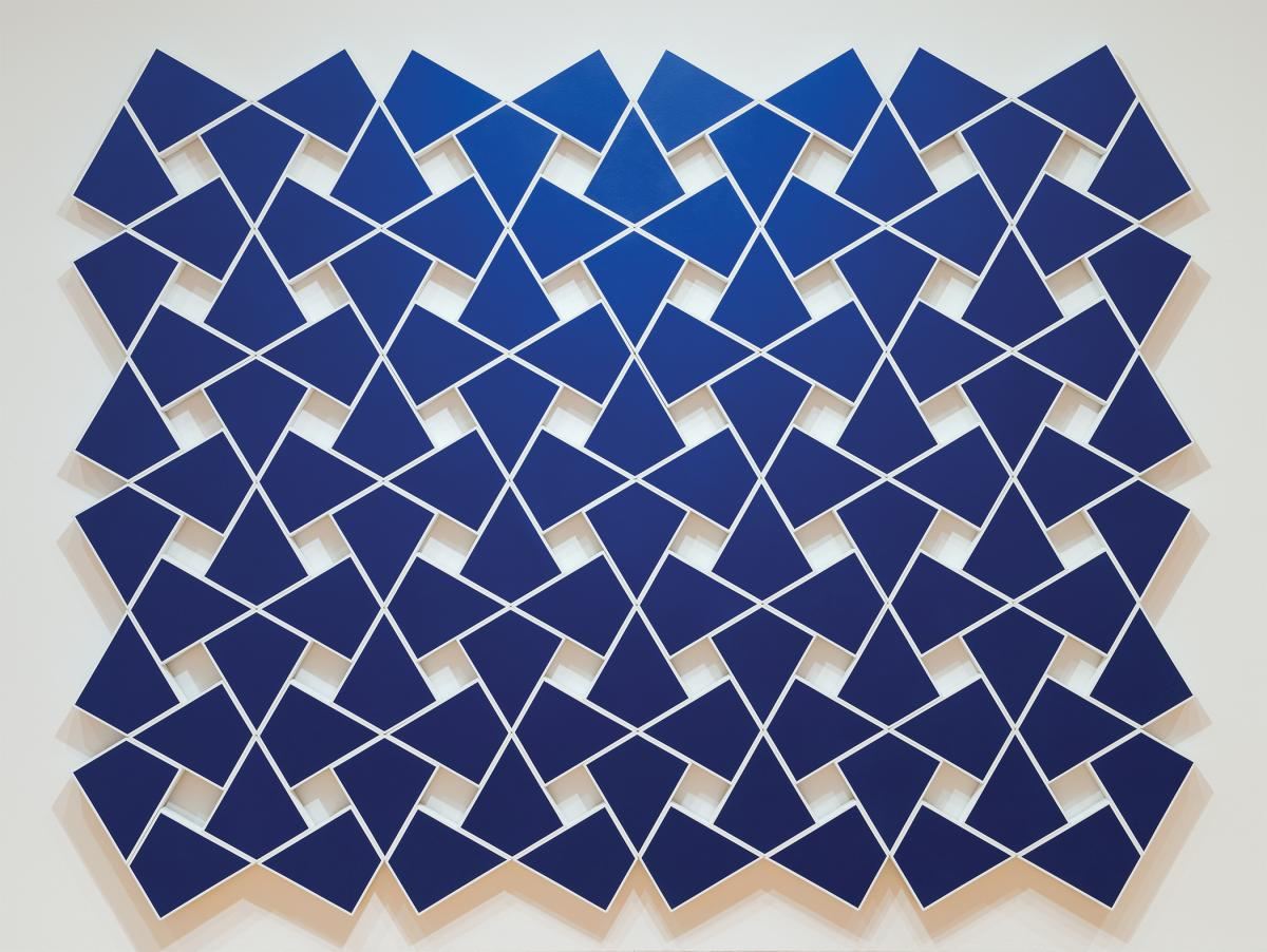 Deep blue, kite shapes on a white background