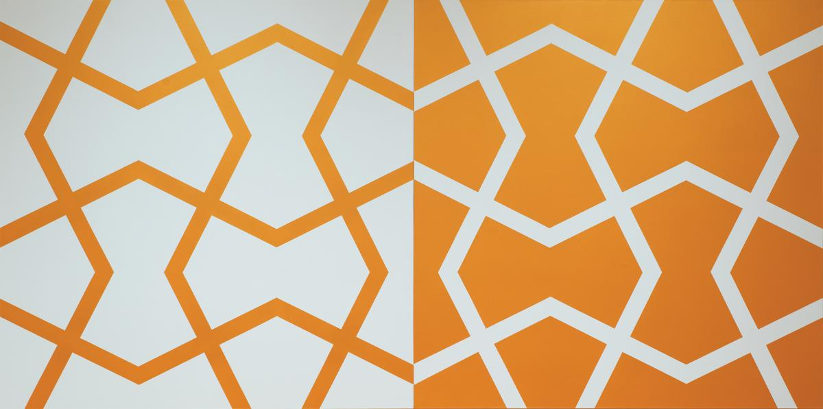 Abstract, angular pattern of white and orange lines, left panel with a white background and the right panel with an orange background