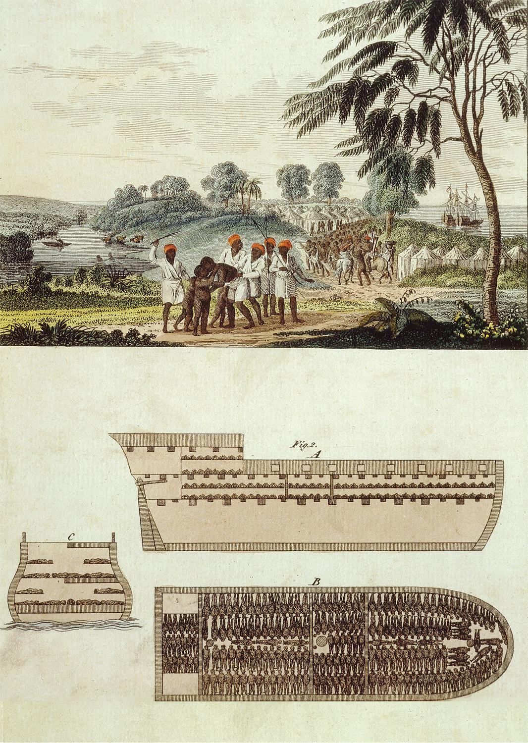 Colored engraving of layout of a slave ship