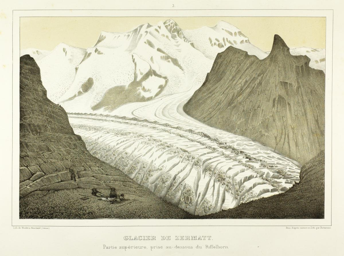 illustration of a glacier in a valley