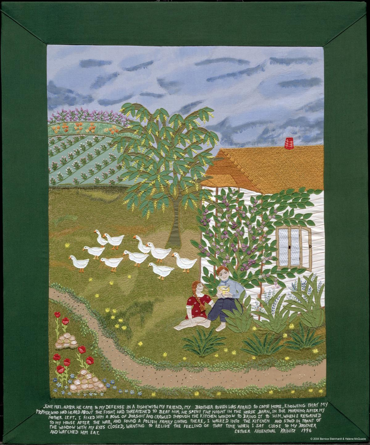 Quilt depicting a young woman and a boy sitting outside in a yard with birds