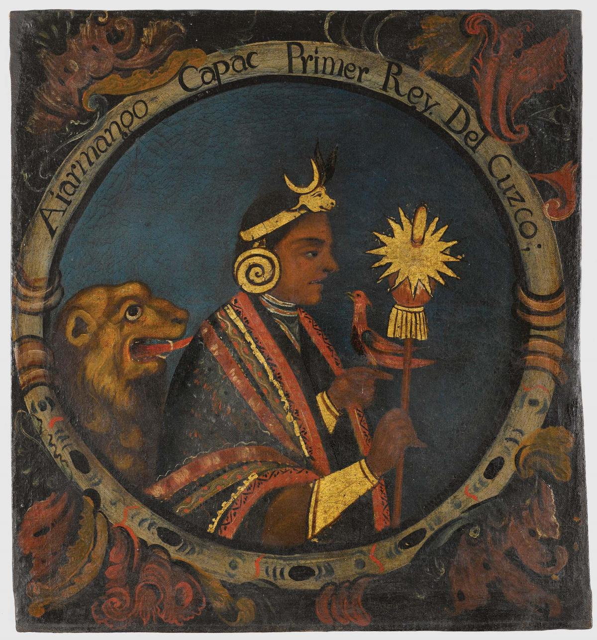Incan king in profile, wearing a gold crown, holding a gold, sun-topped scepter, with a lion sitting behind him
