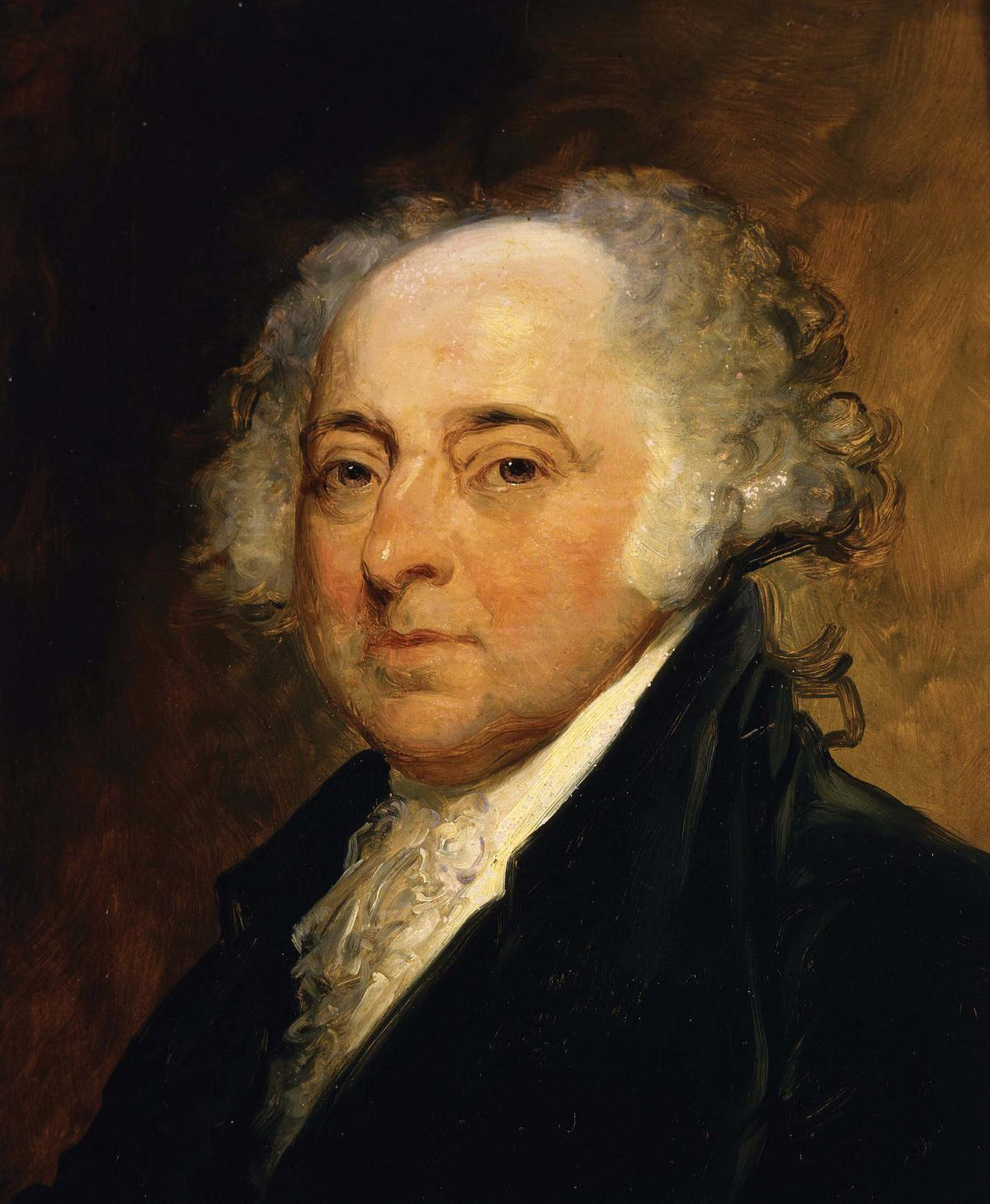 John Adams in a dark suit, head and shoulders portrait on a brown background