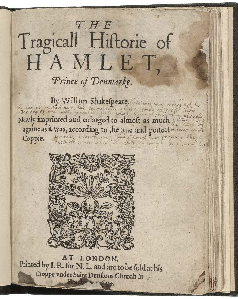 Hamlet title page, decorated with an intricate design of entwined flowers and angels