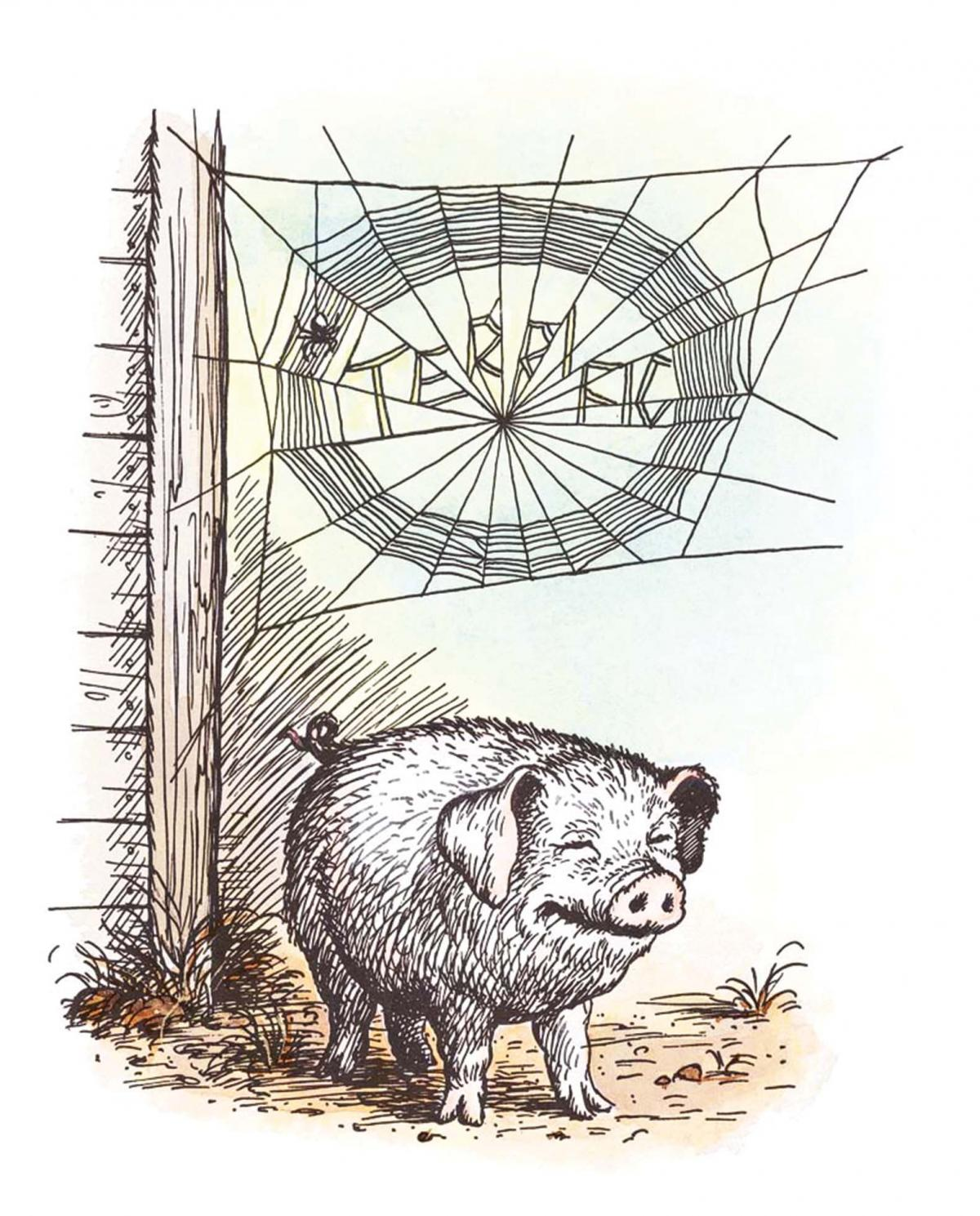 "Wilbur the pig, standing and smiling underneath the spider's web which spells out ""terrific"""