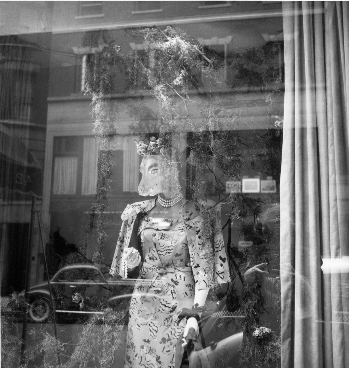 A cow-headed mannequin wears a floral dress and matching jacket in a shop window