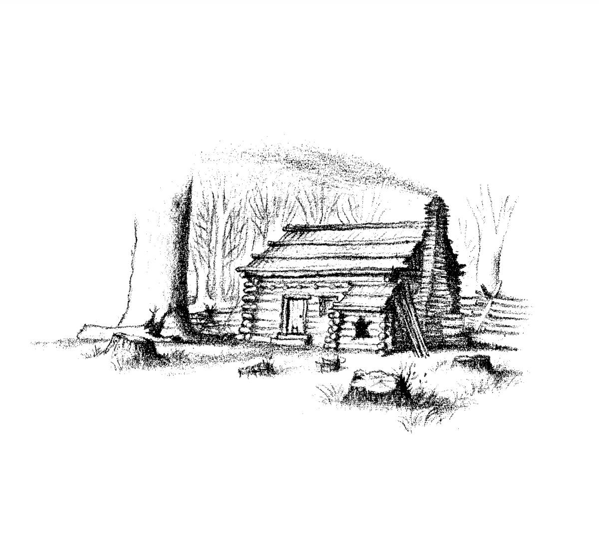 The Ingalls's wood cabin, with smoke coming out of the chimney