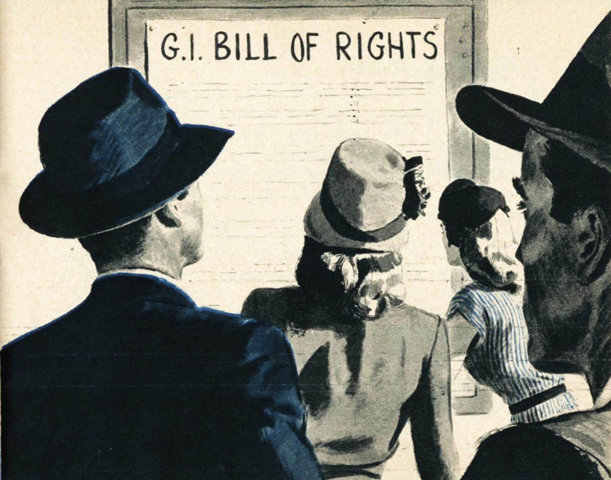 Illustration of several men and women looking at a poster of the GI Bill of Rights