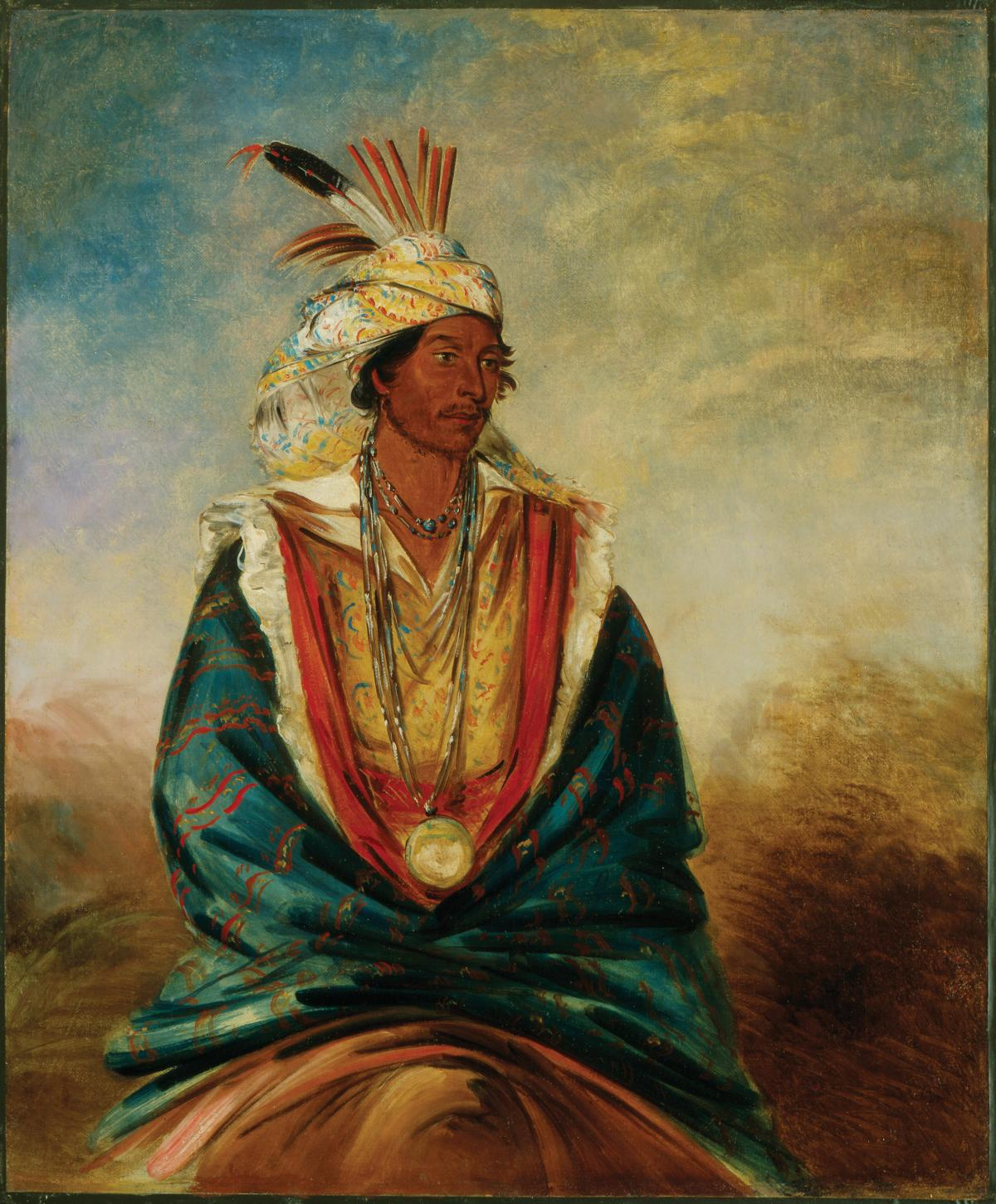 seated creek warrior, wearing traditional feathered headdress, cloak
