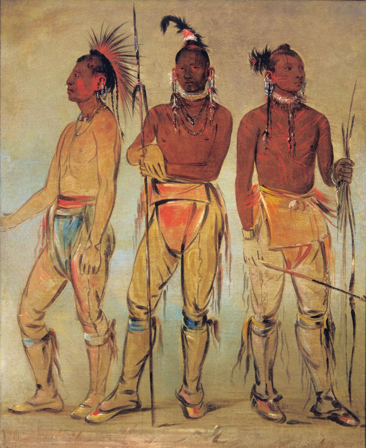 Three osage warriors, holding spears, wearing loincloths, sandals and feathered headbands