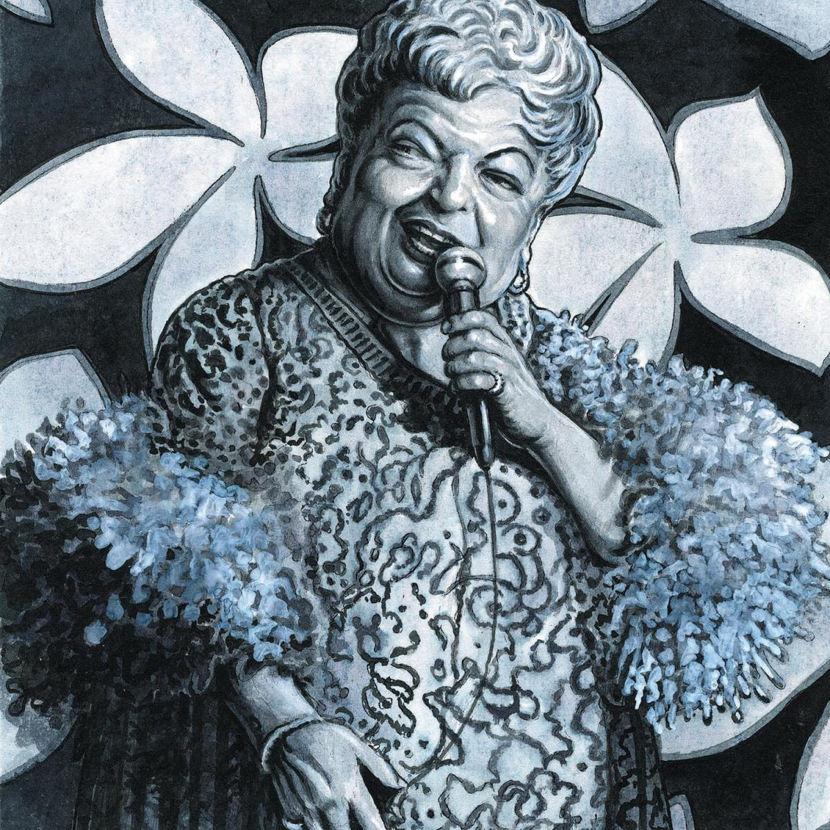 Drawing of Pearl Wolfe, done in blue, white and silver