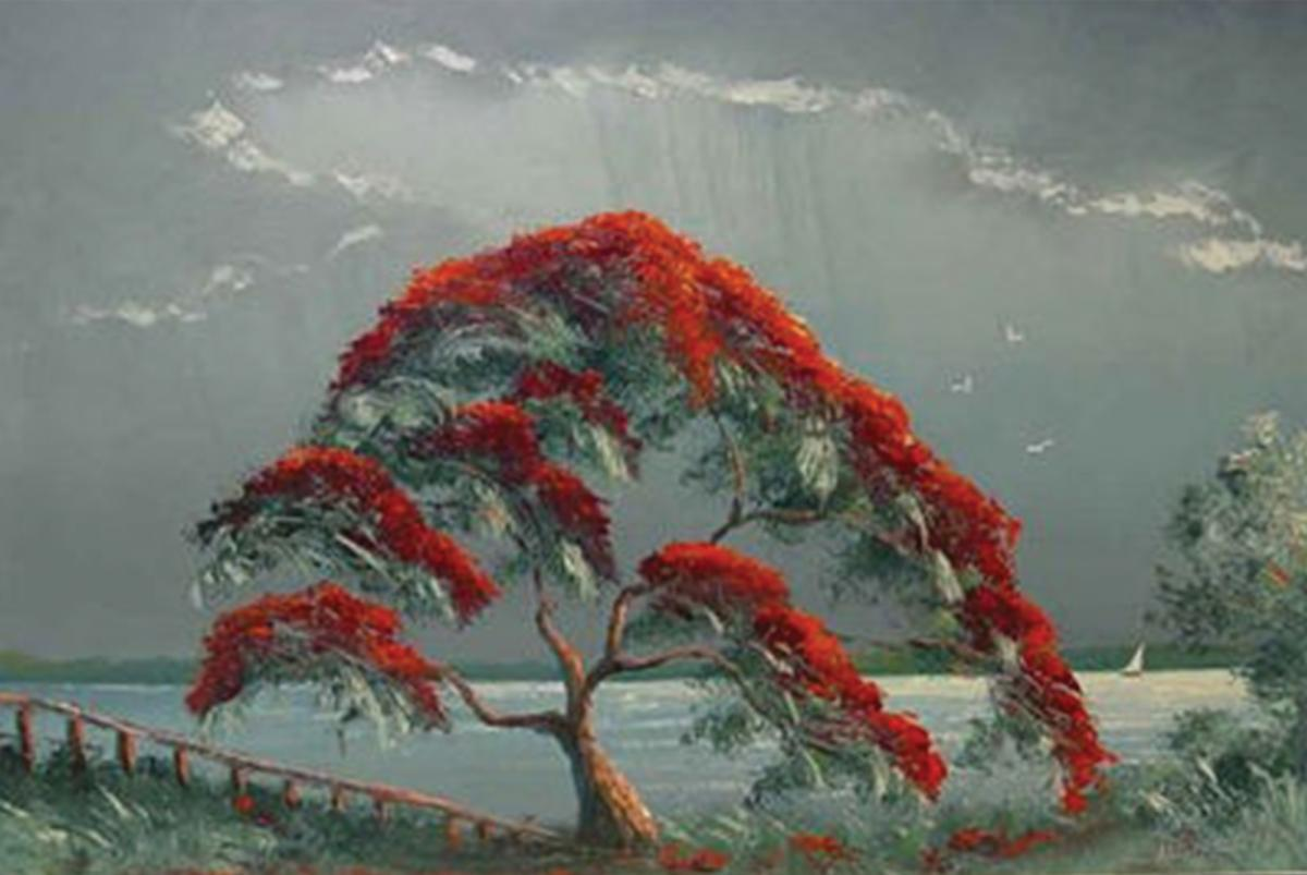 A flowering tree with red flowers, next to a body of water, cloudy sky