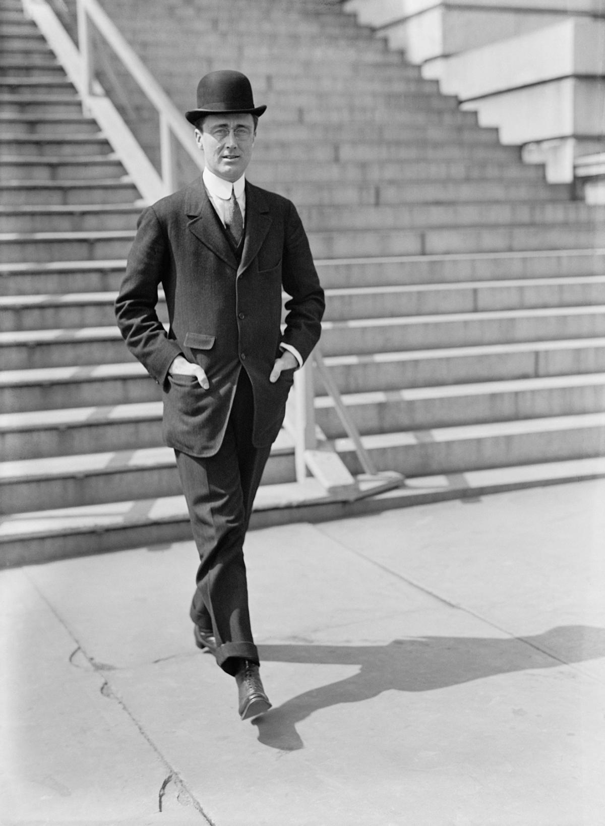 Young FDR in a bowler hat and dark suit