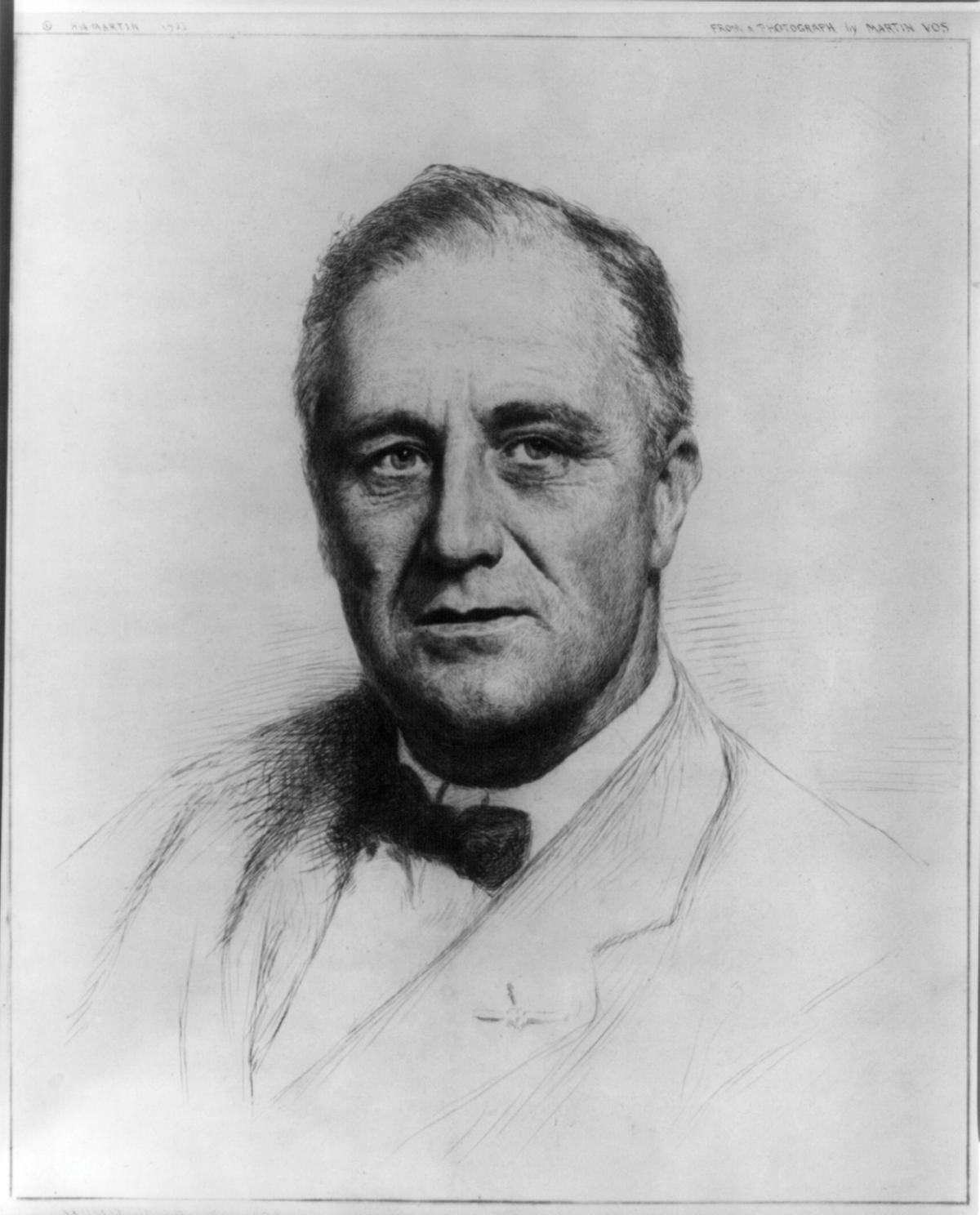 Pencil sketch of FDR, wearing a light colored suit and bow tie