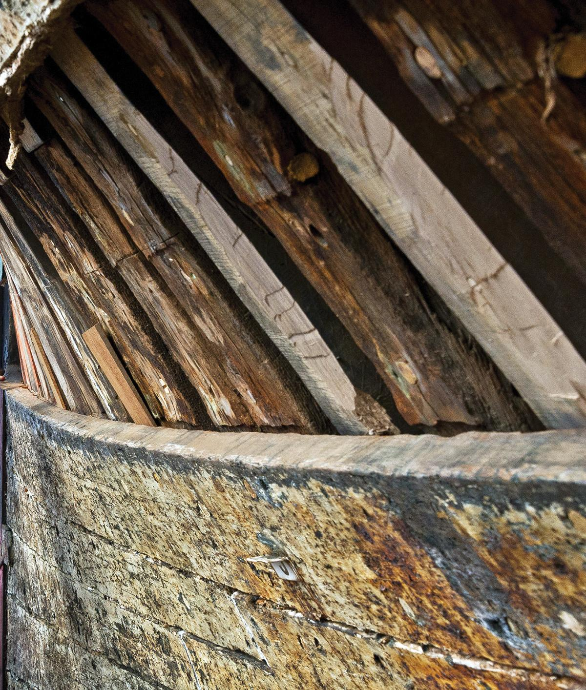 Close up of the Morgan's wooden hull