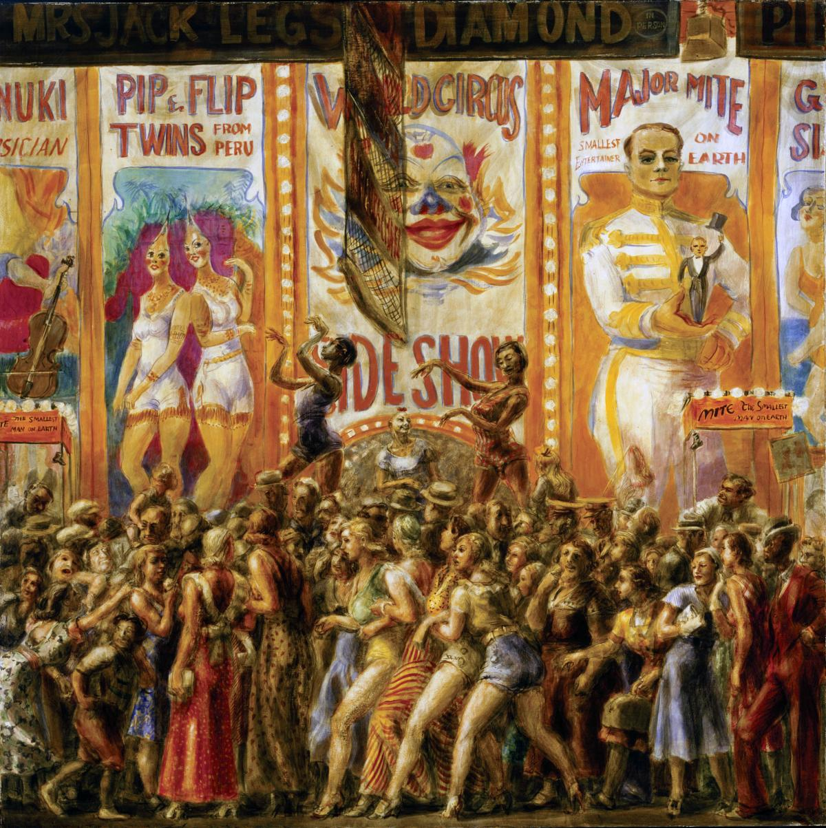 """Pip and Flip"" by Reginald Marsh, depicting a freak show, siamese twins, and a huge crowd of people"