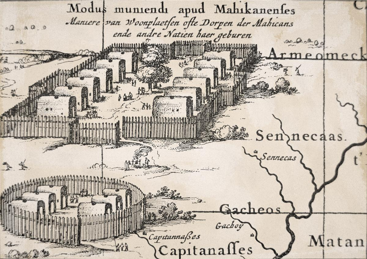 Engraving of an Iroquois village, showing the arrangement of houses within a high wooden fence