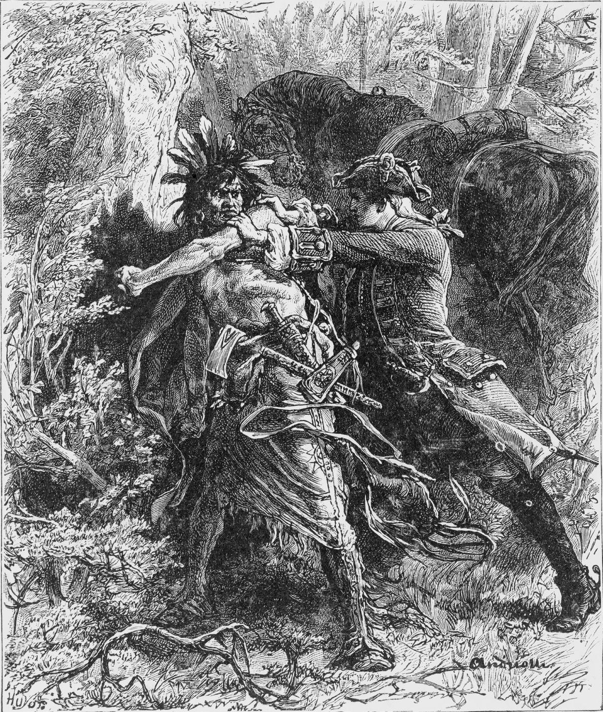 Black and white illustration of a militiaman fighting hand-to-hand with a Mohawk warrior in the deep forest