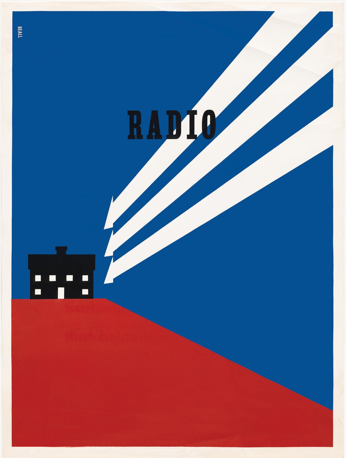"Rural Electrification poster, 1937, showing a black house on a red hill with a blue background, connected to the word ""radio"" with white lines"