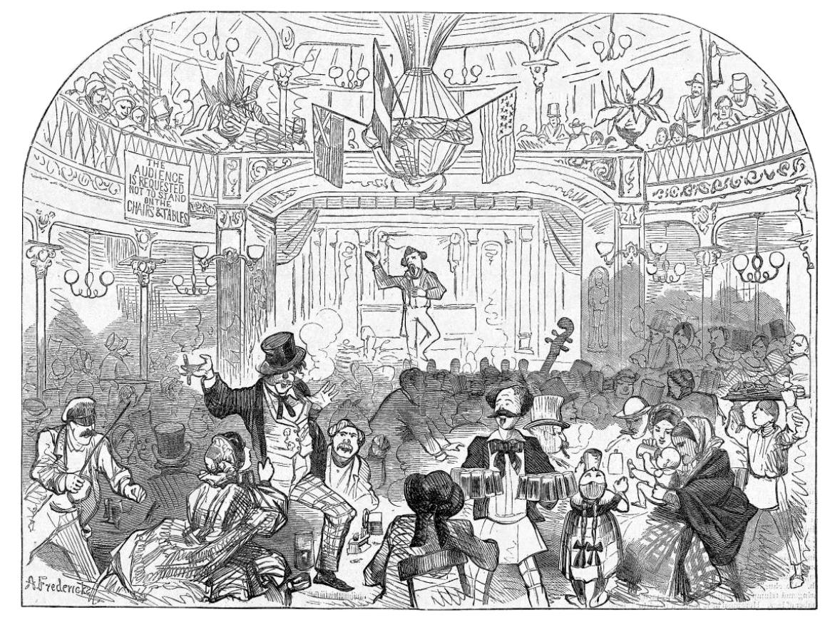 Illustration of a NYC beer garden, showing a large crowd of people drinking mugs of beer and smoking cigarettes
