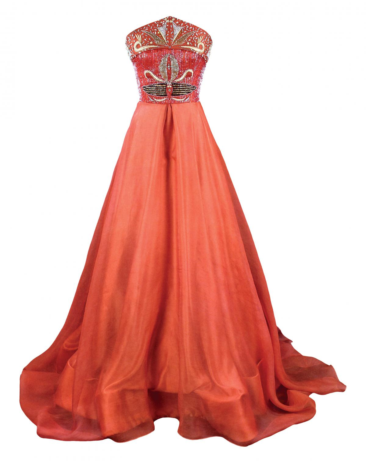 Full-length red evening gown with an a-line skirt and jeweled bodice