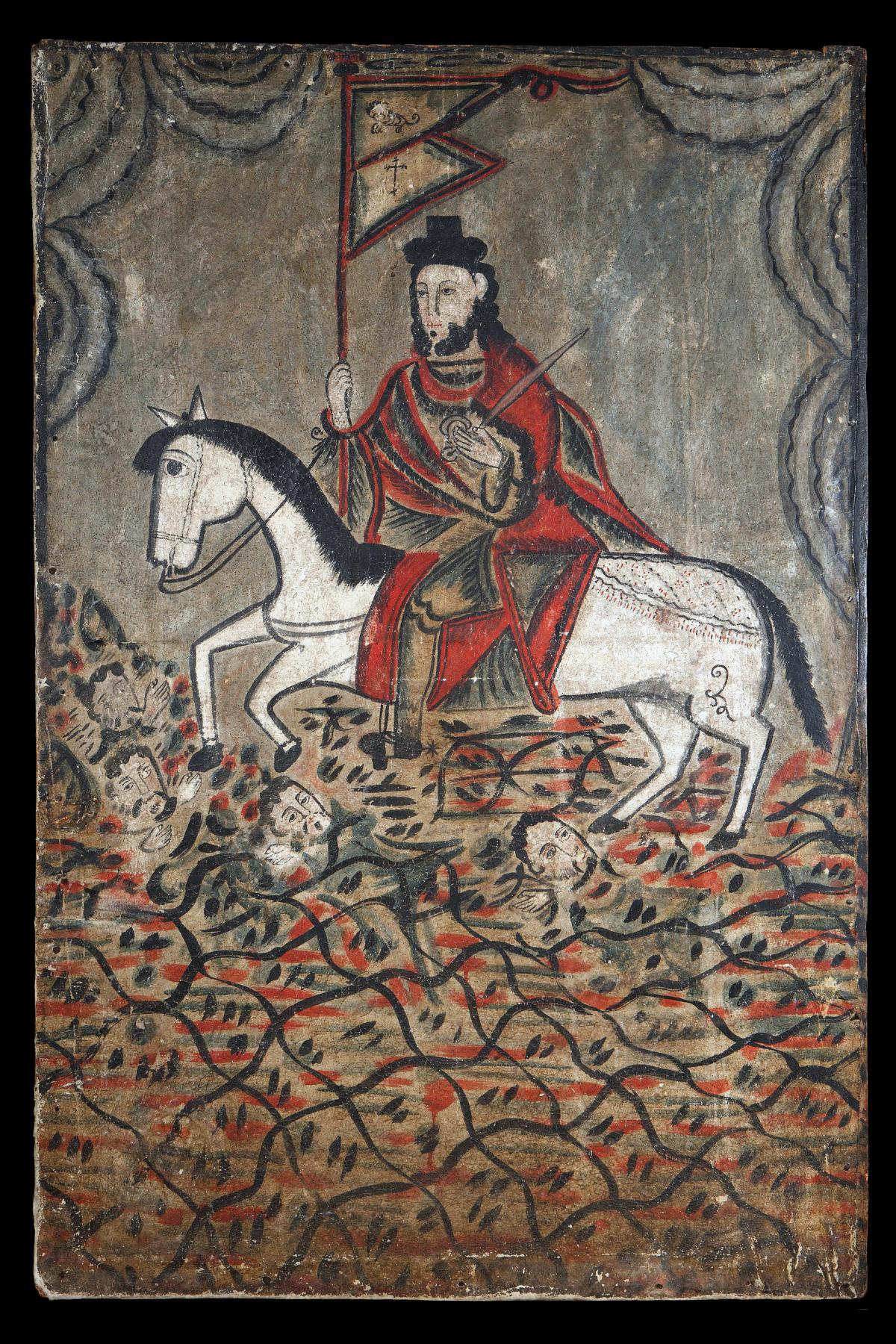 saint james riding a white horse, wearing a red cloak and holding a sword over his shoulder