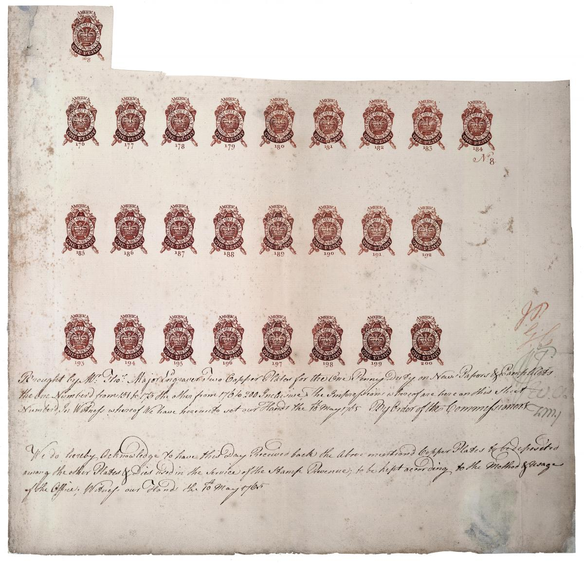 one-penny stamps, done in red ink
