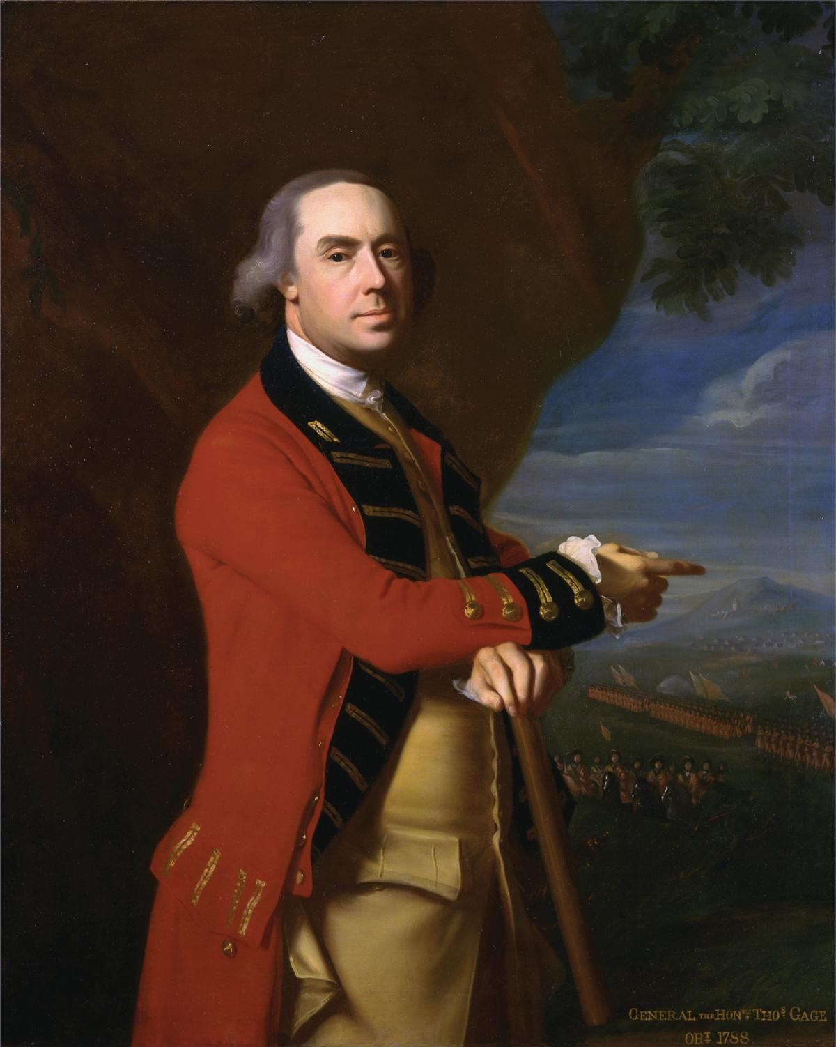 Portrait of Thomas Gage, wearing a British Army red coat, leaning on a walking stick