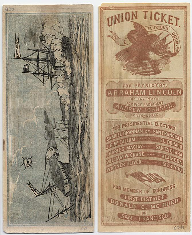 Republican party voting ticket, listing Abraham Lincoln and Andrew Jackson as the candidates, with an illustration of a bald eagle, and a maritime scene on the back of the ticket