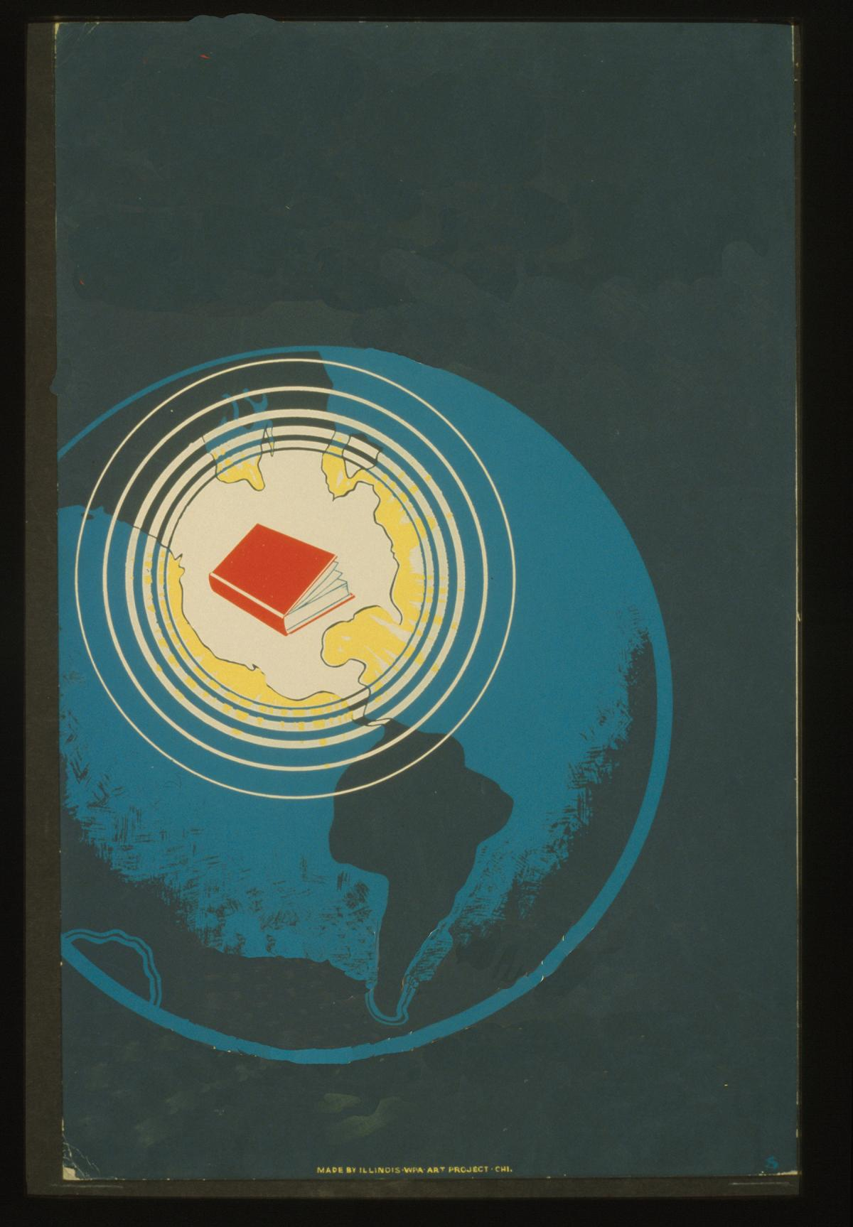 illustration of earth with a book on it