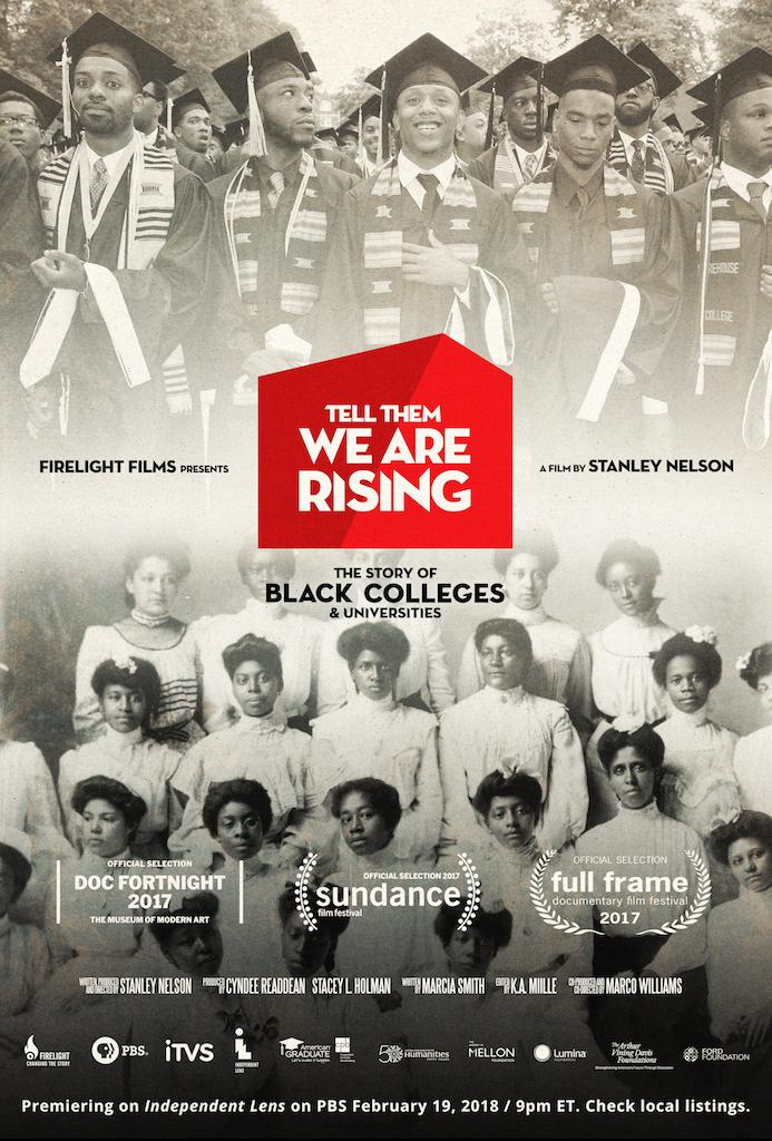 Documentary poster, with a photo of African American male graduates in caps and gowns on the top half, and African American women in white dresses from the 1900s on the bottom half
