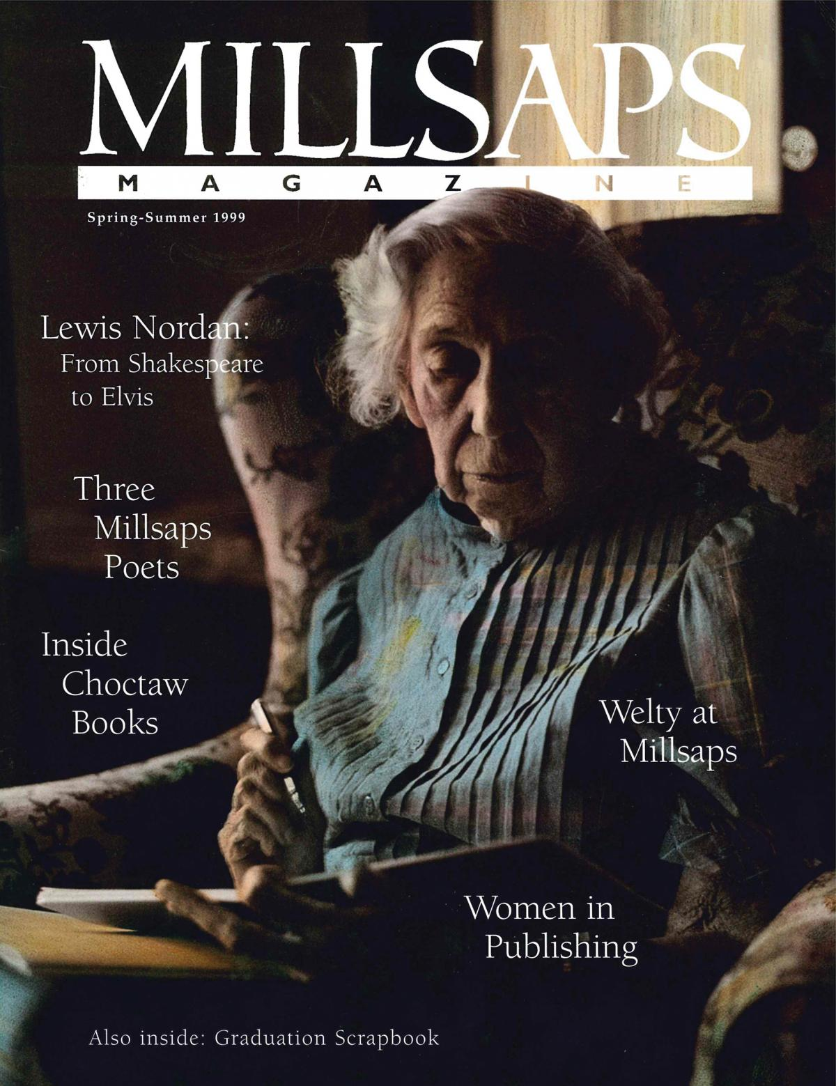 magazine cover of an older woman sitting in a chair
