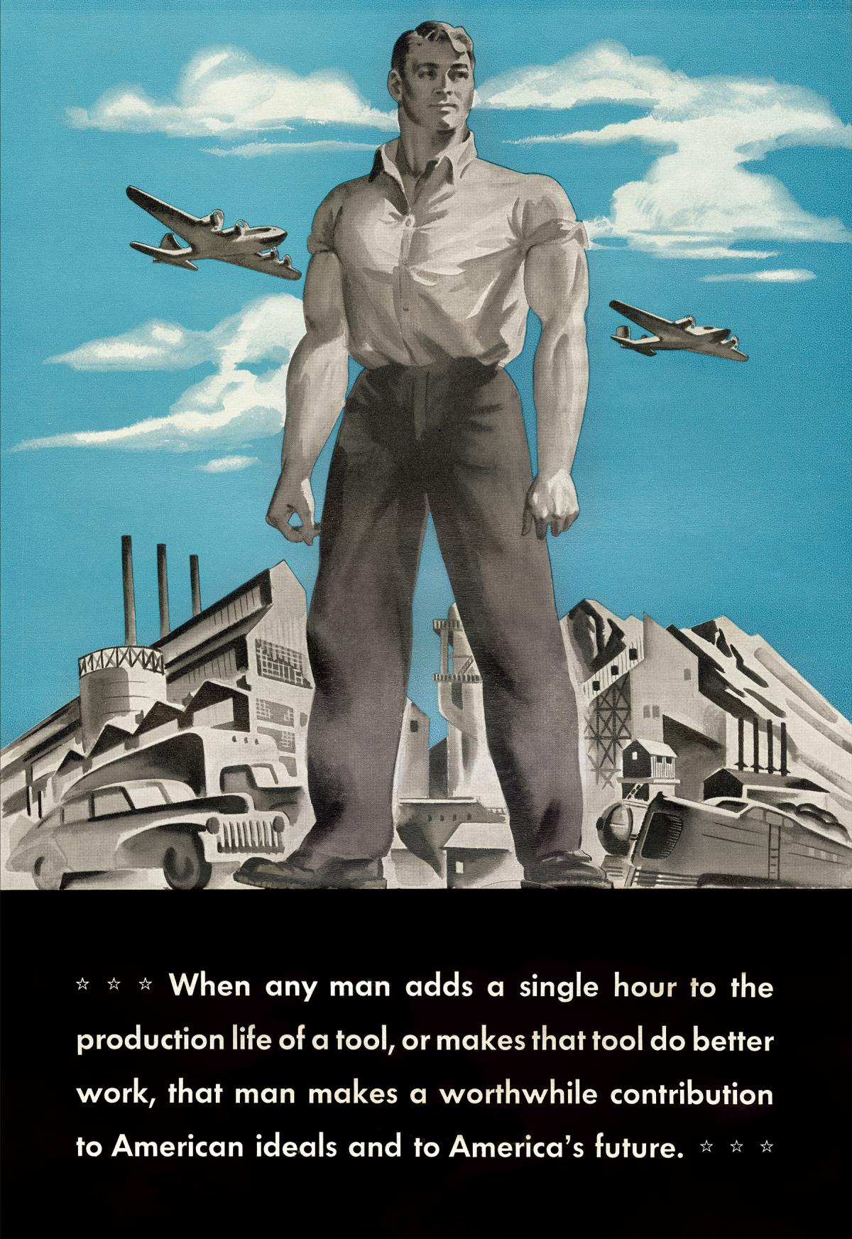 antique poster of a man standing in front of a blue sky, industrial tools behind him
