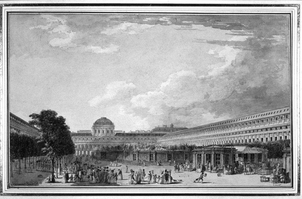 Black and white drawing of a large courtyard filled with people