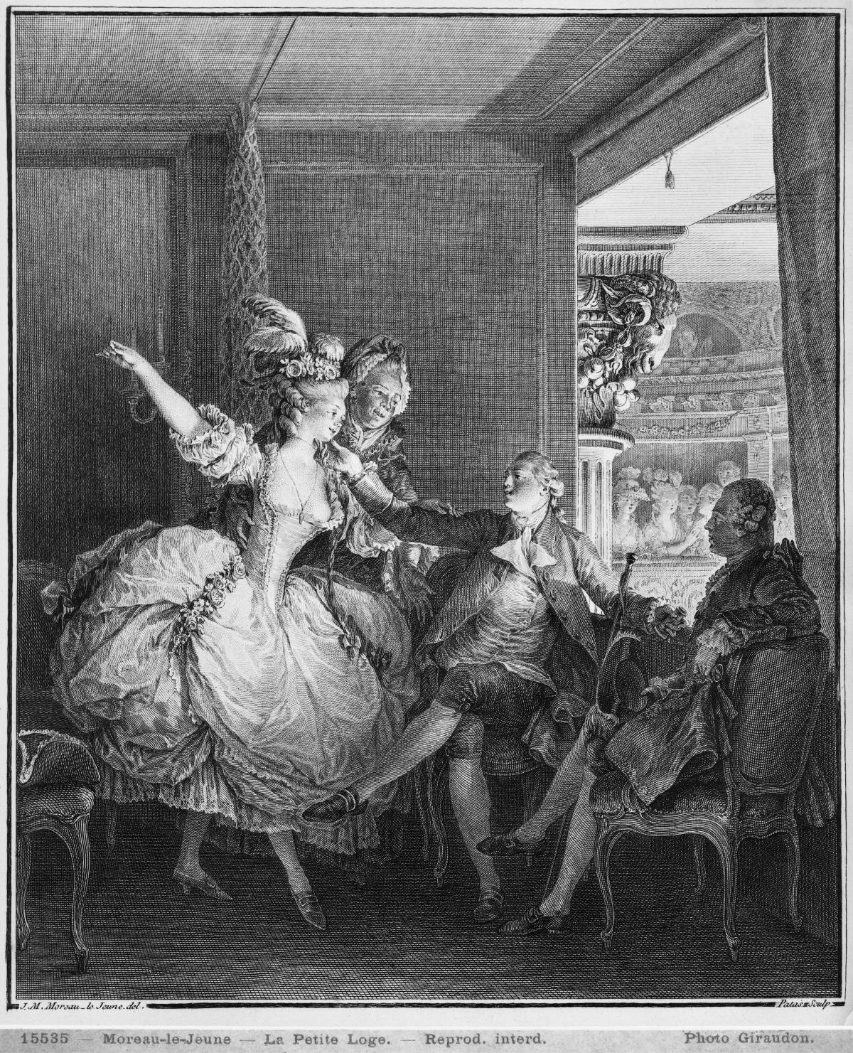 black and white drawing of a woman in a large dress, men sitting down next to her