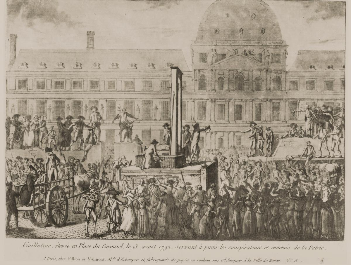 black and white drawing of a crowd surrounding a guillotine