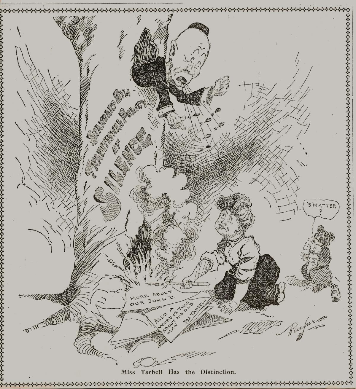 Political cartoon depicting a man in a tree and a woman fanning flames