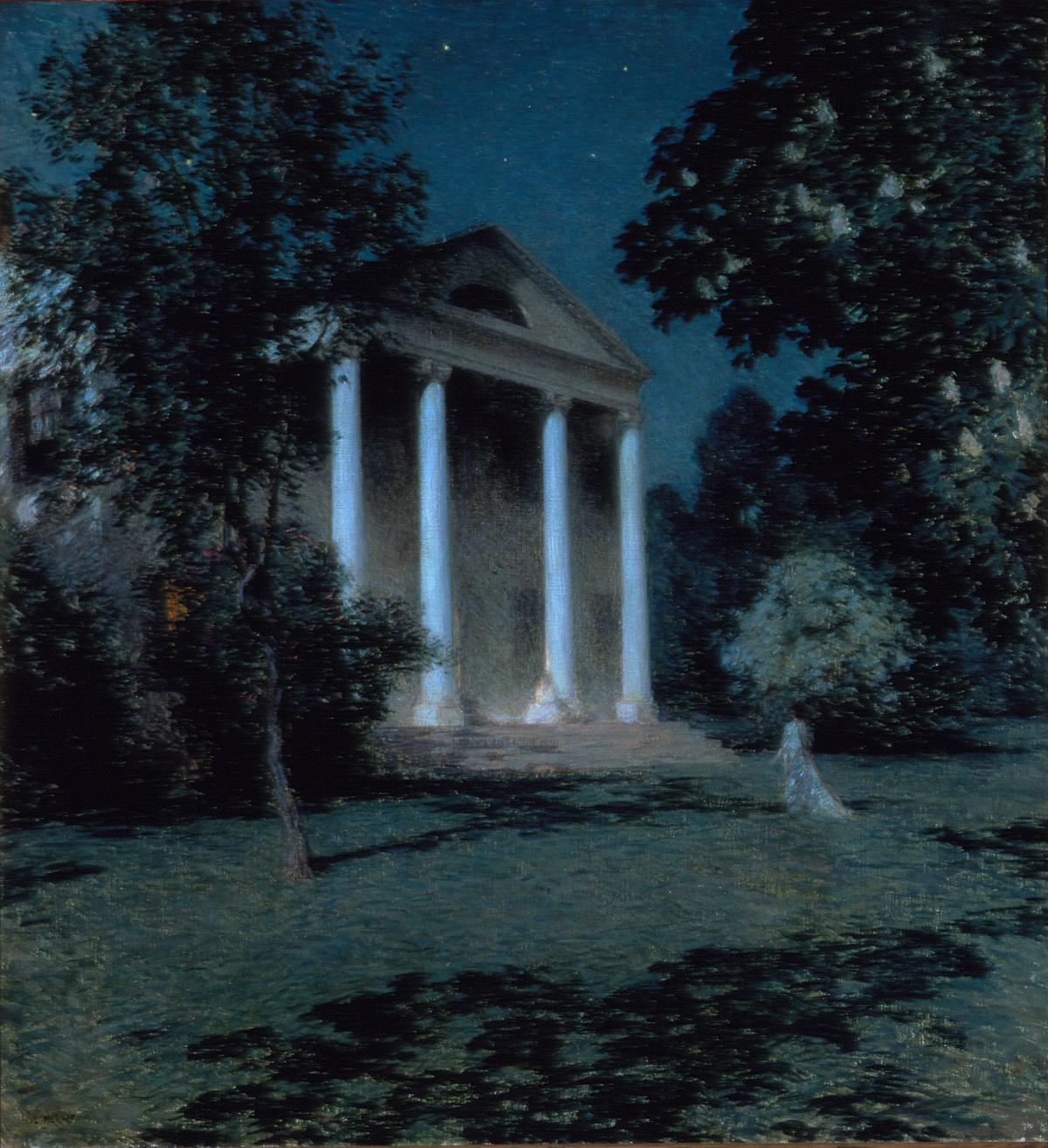 Painting of a house with columns at night