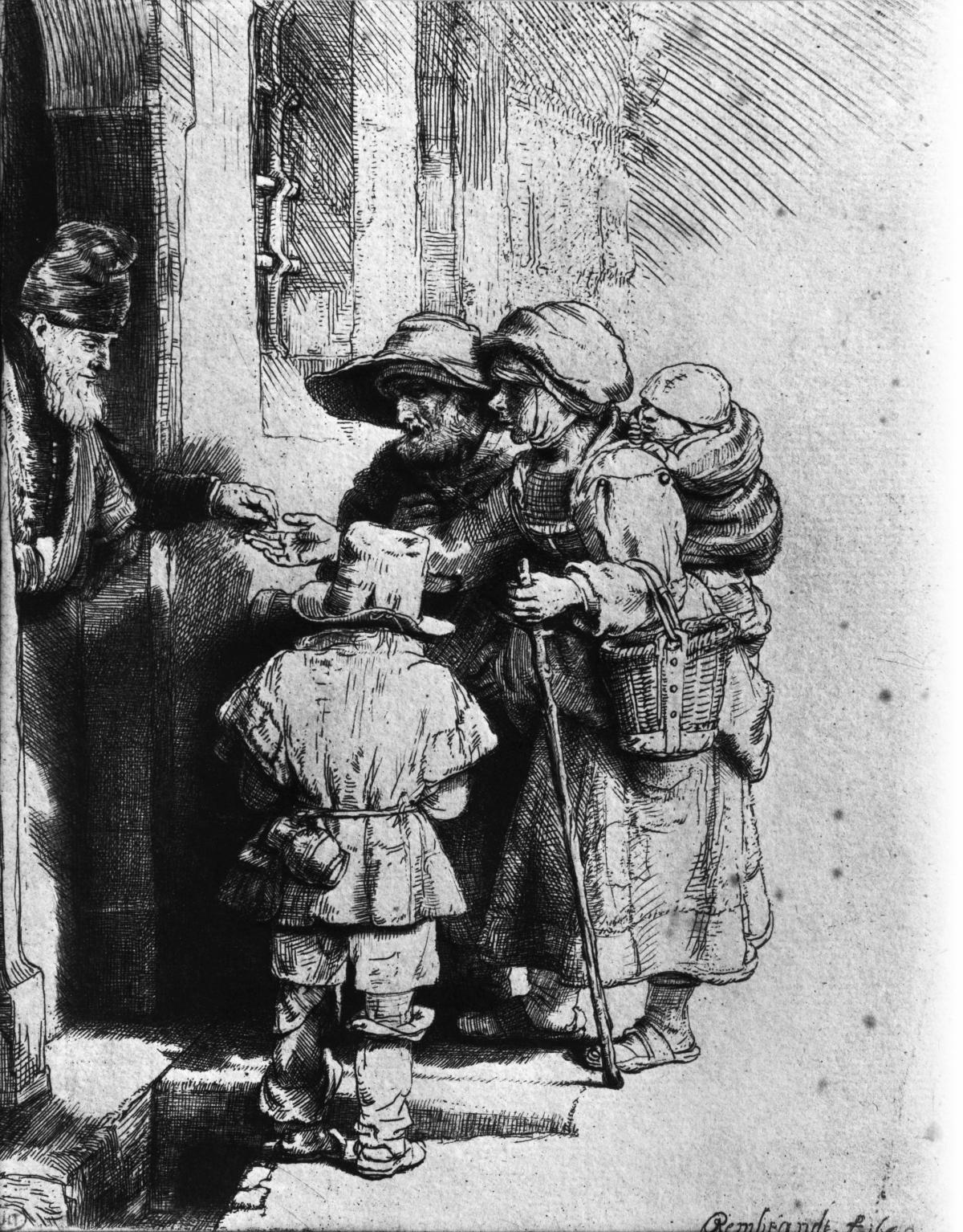 Black and white drawing of beggars outside the door of a house
